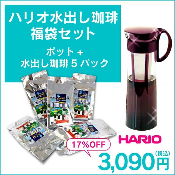 ハリオ水出し珈琲福袋セット(ポット+水出し珈琲5パック)