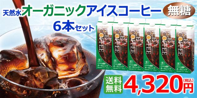オーガニックアイスコーヒーセット 無糖6本(KL-40)|送料無料